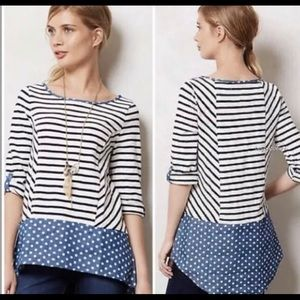 Anthropologie Postage Stamp Striped Tunic Size XL